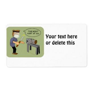 Esto no dañará el dibujo animado divertido de Wood Etiquetas De Envío