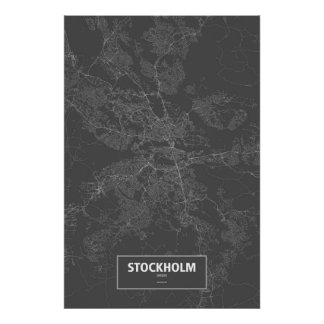 Estocolmo, Suecia (blanca en negro) Póster