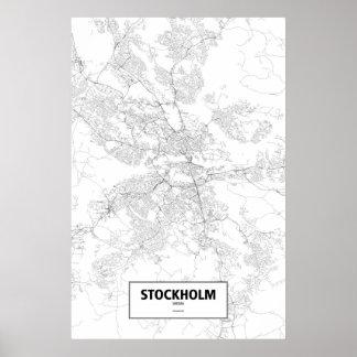 Estocolmo, Suecia (negro en blanco) Póster