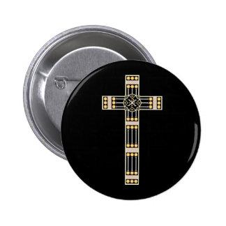 estola cruzada católica húngara del símbolo de pin redondo de 2 pulgadas