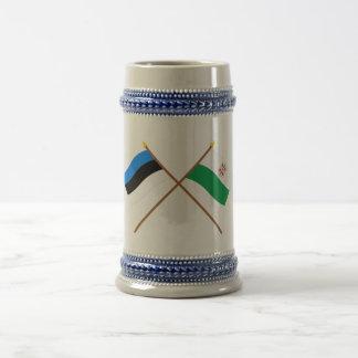 Estonia and Hiiu Crossed Flags Beer Stein