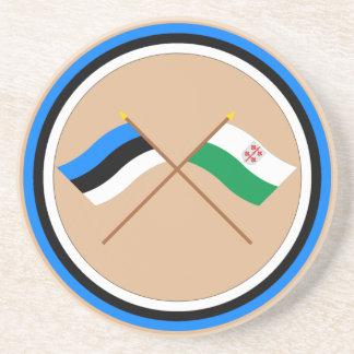 Estonia and Hiiu Crossed Flags Drink Coaster