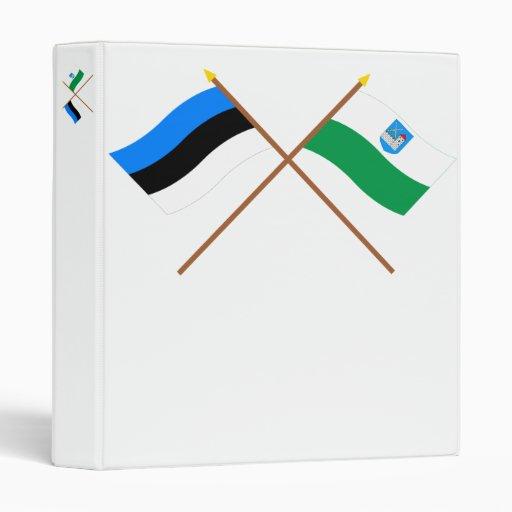 Estonia and Ida-Viru Crossed Flags 3 Ring Binder