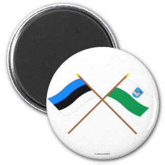 Estonia and Ida-Viru Crossed Flags 2 Inch Round Magnet