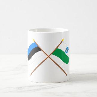 Estonia and Ida-Viru Crossed Flags Classic White Coffee Mug