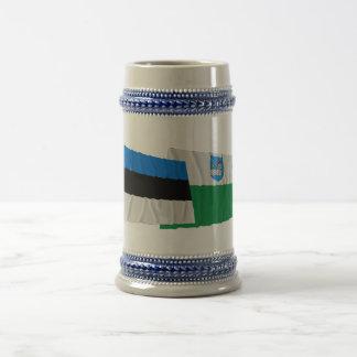 Estonia and Ida-Viru Waving Flags 18 Oz Beer Stein