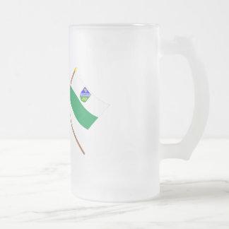 Estonia and Jõgeva Crossed Flags Frosted Glass Beer Mug
