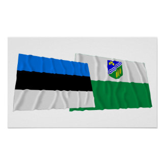 Estonia and Jõgeva Waving Flags Posters