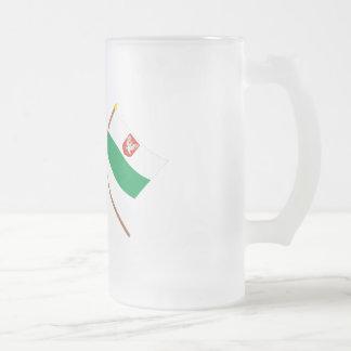Estonia and Lääne Crossed Flags Frosted Glass Beer Mug