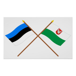 Estonia and Lääne Crossed Flags Print