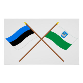Estonia and Lääne-Viru Crossed Flags Print