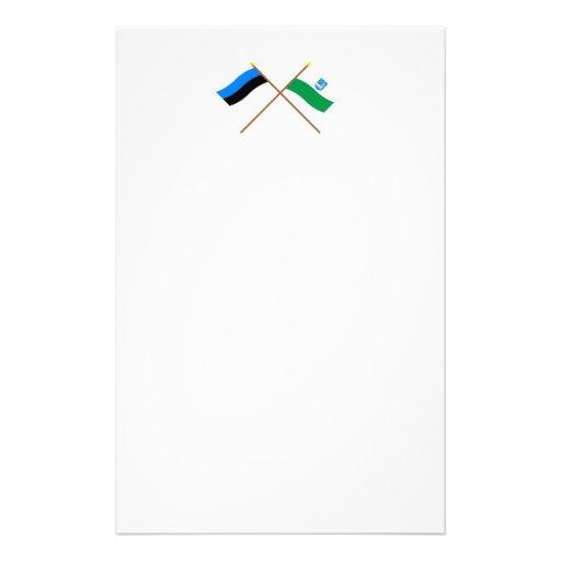 Estonia and Lääne-Viru Crossed Flags Personalized Stationery