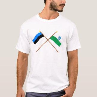 Estonia and Lääne-Viru Crossed Flags T-Shirt