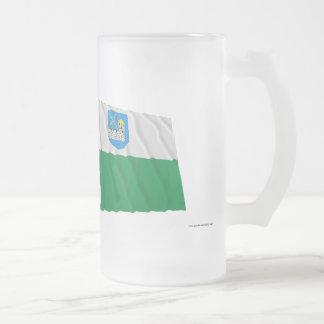 Estonia and Lääne-Viru Waving Flags Frosted Glass Beer Mug