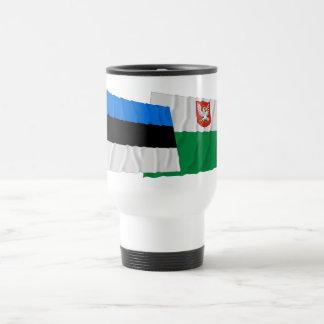 Estonia and Lääne Waving Flags Travel Mug