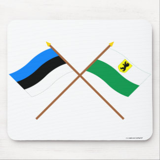 Estonia and Pärnu Crossed Flags Mouse Pad