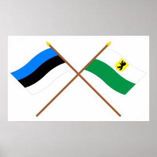 Estonia and Pärnu Crossed Flags Poster
