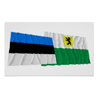Estonia and Pärnu Waving Flags Print