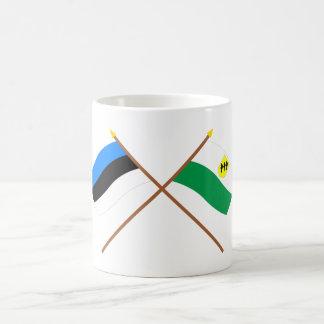 Estonia and Põlva Crossed Flags Coffee Mug
