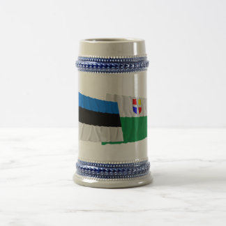 Estonia and Rapla Waving Flags Beer Stein