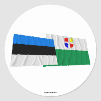 Estonia and Rapla Waving Flags Classic Round Sticker
