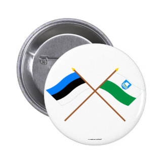 Estonia and Saare Crossed Flags Pinback Buttons