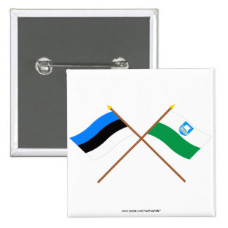 Estonia and Saare Crossed Flags Pinback Button