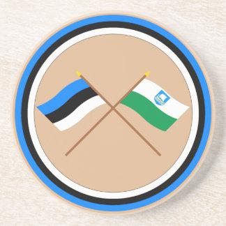 Estonia and Saare Crossed Flags Coasters