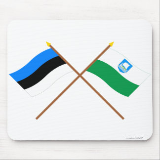 Estonia and Saare Crossed Flags Mouse Pad
