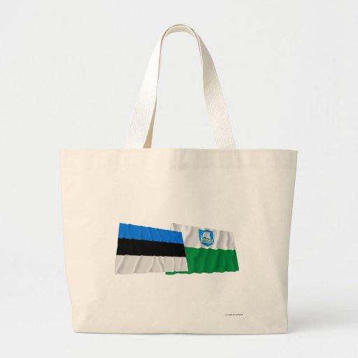 Estonia and Saare Waving Flags Bags