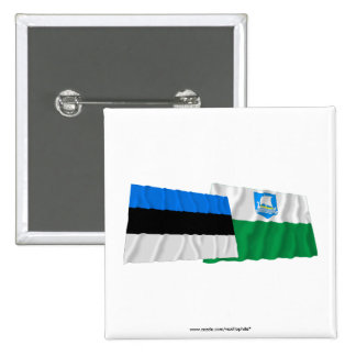 Estonia and Saare Waving Flags Buttons