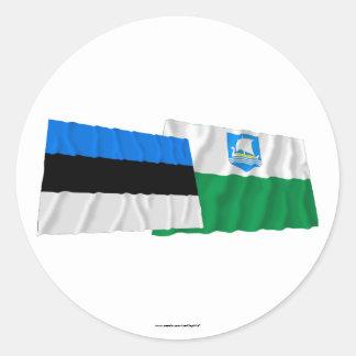 Estonia and Saare Waving Flags Classic Round Sticker