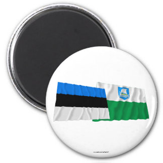 Estonia and Saare Waving Flags Magnet