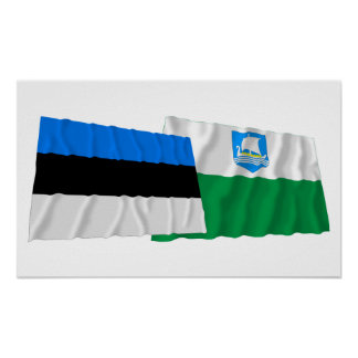 Estonia and Saare Waving Flags Poster