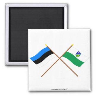 Estonia and Tartu Crossed Flags 2 Inch Square Magnet