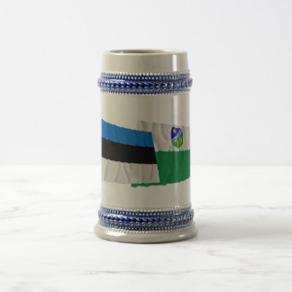 Estonia and Tartu Waving Flags Beer Stein