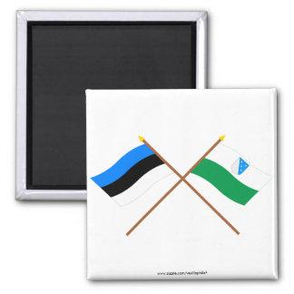 Estonia and Valga Crossed Flags 2 Inch Square Magnet