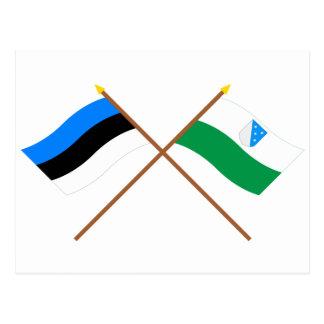 Estonia and Valga Crossed Flags Postcard