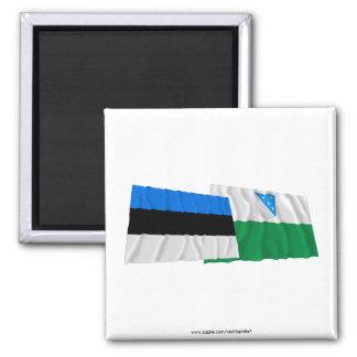 Estonia and Valga Waving Flags 2 Inch Square Magnet