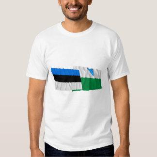 Estonia and Valga Waving Flags Tee Shirt