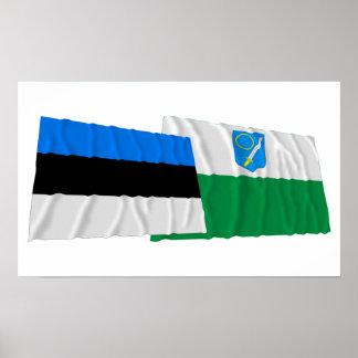 Estonia and Võru Waving Flags Poster