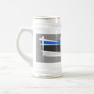 Estonia Brush Flag Beer Stein