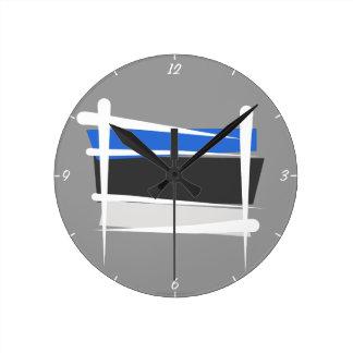 Estonia Brush Flag Wall Clocks
