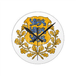 Estonia Coat Of Arms Round Wall Clocks