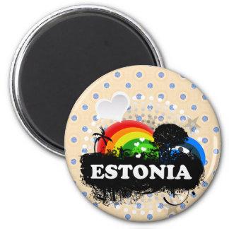 Estonia con sabor a fruta linda imán redondo 5 cm