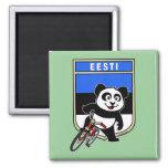 Estonia Cycling Panda 2 Inch Square Magnet