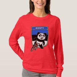 Women's Basic Long Sleeve T-Shirt with Estonian Cycling Panda design