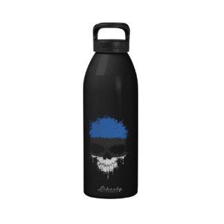 Estonia Dripping Splatter Skull Reusable Water Bottles