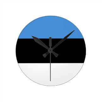 Estonia Flag Round Wall Clocks