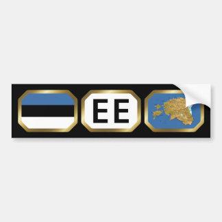 Estonia Flag Map Code Bumper Sticker Car Bumper Sticker